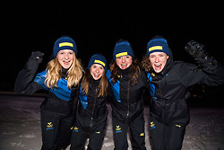 February 23, 2018 - Pyeongchang, SOUTH KOREA - 180223 Mona Brorsson, Anna Magnusson, Linn Persson and Hanna …berg of Sweden celebrates after they won silver in the WomenÃ•s Biathlon Relay during day thirteen of the 2018 Winter Olympics on February 23, 2018 in Pyeongchang..Photo: Petter Arvidson / BILDBYRN / kod PA / 91995 (Credit Image: © Petter Arvidson/Bildbyran via ZUMA Press)