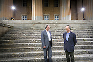 Mark Baring (right), son of Lord Ashburton and Michael Chance, Artistic Director of The Grange Festival pictured at Grange Park in Hampshire. The Grange Festival will have its inaugural season in June, 2017 after parting with its previous tenants, Grange Park Opera, who enjoyed 16 years at the award winning theatre. <br /> Picture date: Thursday October 20, 2016.<br /> Photograph by Christopher Ison &copy;<br /> 07544044177<br /> chris@christopherison.com<br /> www.christopherison.com