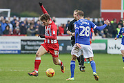 Accrington Stanley Shay McCartan and Carlisle United Gary Liddle during the EFL Sky Bet League 2 match between Accrington Stanley and Carlisle United at the Fraser Eagle Stadium, Accrington, England on 21 January 2017. Photo by Pete Burns.