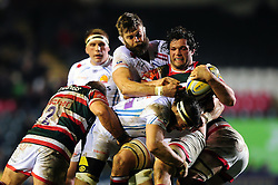Dom Barrow of Leicester Tigers is tackled - Mandatory byline: Patrick Khachfe/JMP - 07966 386802 - 03/03/2017 - RUGBY UNION - Welford Road - Leicester, England - Leicester Tigers v Exeter Chiefs - Aviva Premiership.