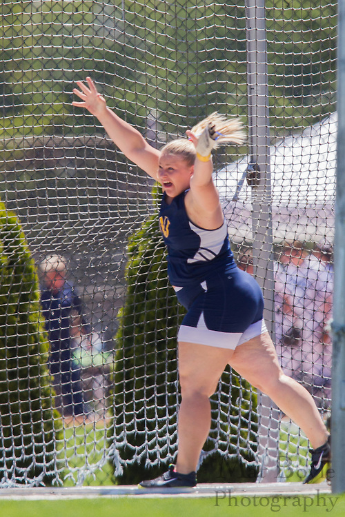 The College of New Jersey's Mary Chismar competes in the women's hammer throw at the NJAC Track and Field Championships at Richard Wacker Stadium on the campus of  Rowan University  in Glassboro, NJ on Saturday May 4, 2013. (photo / Mat Boyle)