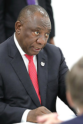 June 28, 2019 - Osaka, Japan - June 28, 2019. - Japan, Osaka. - South Africa's President Cyril Ramaphosa during a meeting with Russia's President Vladimir Putin on the sidelines of the 2019 G20 Summit at the INTEX Osaka International Exhibition Centre. (Credit Image: © face to face via ZUMA Press)