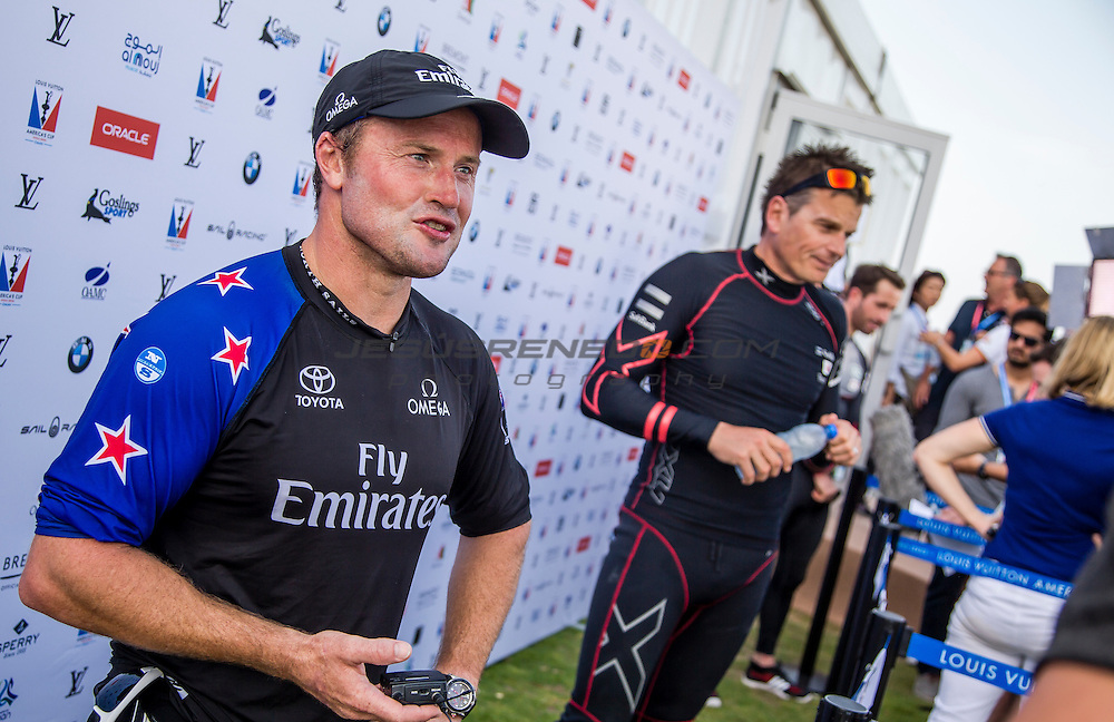 Emirates Team New Zealand<br /> Skipper - Glenn Ashby.America's Cup arrives in Muscat.Louis Vuitton America's Cup World Series Oman 2016.First day of racing.Muscat ,The Sultanate of Oman.Image licensed to Jesus Renedo/Lloyd images/Oman Sail