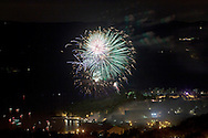West Point, New York - Fireworks explode in the sky over the U.S. Military Academy at the end of the West Point Band's Fourth of July Celebration Concert on July 8, 2012. The photograph was taken from the Route 9W overlook.