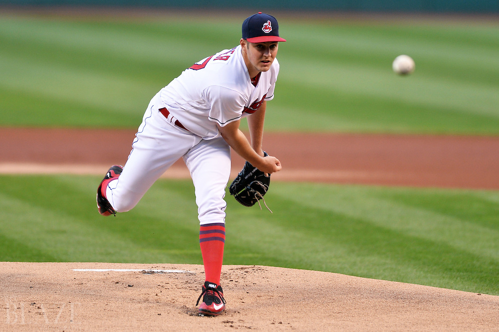 Sep 3, 2016; Cleveland, OH, USA; Cleveland Indians starting pitcher Trevor Bauer (47) throws a pitch  during the first inning against the Miami Marlins at Progressive Field. Mandatory Credit: Ken Blaze-USA TODAY Sports