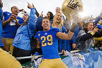 17 October 2012: (29) Jake Hall of the UCLA Bruins celebrates after defeating the USC Trojans 38-28 at the Rose Bowl in Pasadena, CA.