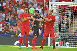 LONDON, ENGLAND - Saturday, August 6, 2016: Liverpool's Dejan Lovren takes the captain's armband during the International Champions Cup match against FC Barcelona at Wembley Stadium. (Pic by Xiaoxuan Lin/Propaganda)