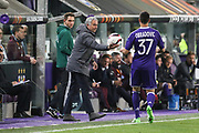 Jose Mourinho Manager of Manchester United Manager hands ball back to Anderlecht Defender Ivan Obradovic during the UEFA Europa League Quarter-final, Game 1 match between Anderlecht and Manchester United at Constant Vanden Stock Stadium, Anderlecht, Belgium on 13 April 2017. Photo by Phil Duncan.