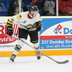 "TRENTON, ON  - MAY 2,  2017: Canadian Junior Hockey League, Central Canadian Jr. ""A"" Championship. The Dudley Hewitt Cup. Game 2 between Powassan Voodoos and Trenton Golden Hawks.  Tyler Gervais-Rolfe #10 of the Powassan Voodoos during the second period <br /> (Photo by Amy Deroche / OJHL Images)"
