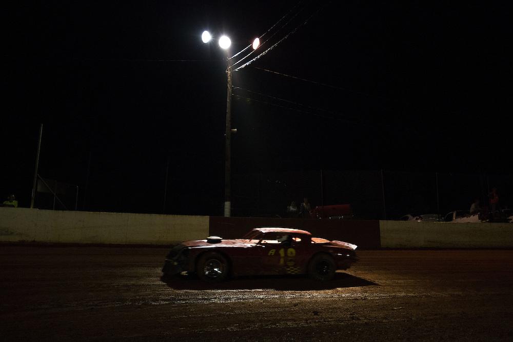 May 10, 2014; Senoia, GA, USA; Dirt track driver John Holcomb during bomber class at Senoia Raceway. Mandatory Credit: Kevin Liles-USA TODAY Sports