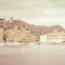Catalina Island Avalon Bay vintage panorama picture with the Catalina Casino