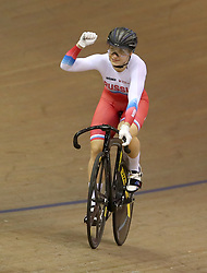 Russia's Daria Shmeleva celebrates winning the Gold Medal in the Womens Sprint Final during day four of the 2018 European Championships at the Sir Chris Hoy Velodrome, Glasgow. PRESS ASSOCIATION Photo. Picture date: Sunday August 5, 2018. See PA story CYCLING European. Photo credit should read: Jane Barlow/PA Wire. RESTRICTIONS: Editorial use only, no commercial use without prior permission