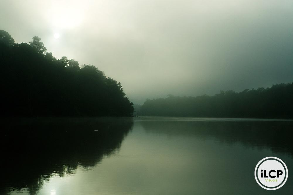 Kinabatangan River at dawn, Sabah, Borneo, Malaysia