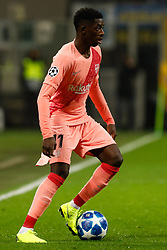November 7, 2018 - Milan, Italy - Ousmane Dembele of Barcelona in action during the Group B match of the UEFA Champions League between FC Internazionale and FC Barcelona on November 6, 2018 at San Siro Stadium in Milan, Italy. (Credit Image: © Mike Kireev/NurPhoto via ZUMA Press)