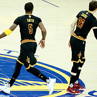 12 June 2017: Cleveland Cavaliers guard JR Smith (5) is seen next to Cleveland Cavaliers guard Kyle Korver (26) during the Golden State Warriors 129-120 victory over the Cleveland Cavaliers, in game 5 of the 2017 NBA Finals, at the Oracle Arena, Oakland, California, USA.