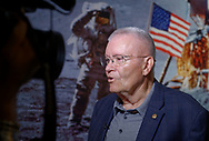 Garden City, New York, U.S. June 6, 2019. Apollo 13 astronaut FRED HAISE answers question during interivew in front of astronauts on moon mural, during Cradle of Aviation Museum's Apollo Astronauts Press Conference during its day of events celebrating 50th Anniversary of Apollo 11.