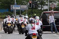 "© Licensed to London News Pictures . 12/07/2014 . Manchester , UK . A "" Free Palestine "" motorcycle convoy at Media City . Thousands of people outside the BBC at Media City in Salford , Greater Manchester , this afternoon (Saturday 12th July 2014) , protesting Israeli actions in Gaza and the Corporation's coverage of the Israeli Palestinian conflict . A convey branded "" Drive for Justice "" travelled from out of the city from Bradford , Blackburn and other regions , to form the protest . Photo credit : Joel Goodman/LNP"