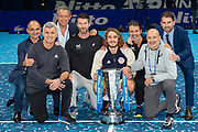 Stefanos Tsitsipas of Greece celebrates with his team during the Nitto ATP finals at the O2 Arena, London, United Kingdom on 17 November 2019.