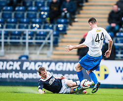 Falkirk's Stephen Kingsley slides into Morton's Tomas Peciar.<br /> Falkirk 1 v 1 Morton, Scottish Championship game today at The Falkirk Stadium.<br /> &copy; Michael Schofield.
