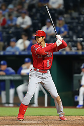 April 12, 2018 - Kansas City, MO, U.S. - KANSAS Kansas City, MO - APRIL 12: Los Angeles Angels designated hitter Shohei Ohtani (17) bats in the ninth inning of an MLB game between the Los Angeles Angels of Anaheim and Kansas City Royals on April 12, 2018 at Kauffman Stadium in Kansas City, MO. The Angels won 7-1. (Photo by Scott Winters/Icon Sportswire) (Credit Image: © Scott Winters/Icon SMI via ZUMA Press)