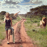 Photo compositing of Jennifer Aniston in Africa.
