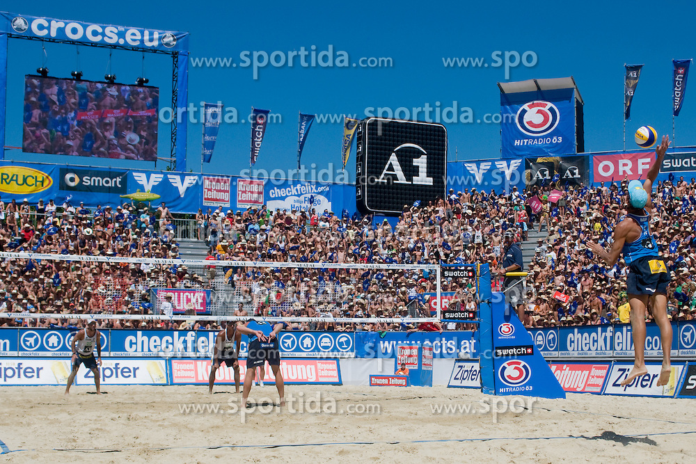 Emanuel Rego of Brazil on serve at A1 Beach Volleyball Grand Slam tournament of Swatch FIVB World Tour 2010, bronze medal, on August 1, 2010 in Klagenfurt, Austria. (Photo by Matic Klansek Velej / Sportida)