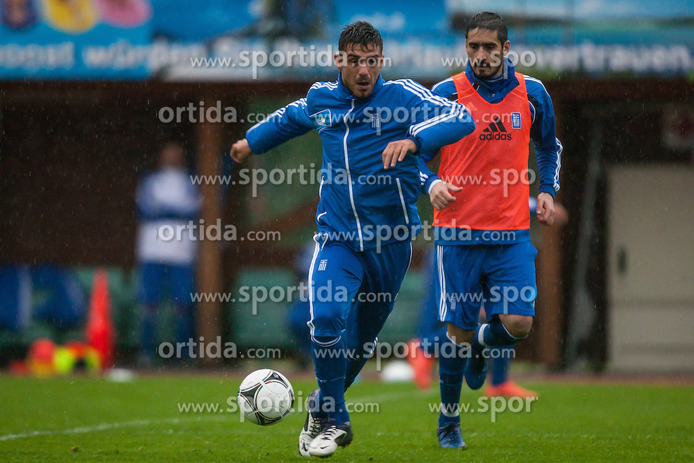 23.05.2012, Casino Stadion, Kitzbuehel, AUT, UEFA EURO 2012, Trainingscamp, Griechenland, Training, im Bild Kostas Katsouranis, (GRE), Nikos Liberopoulos, (GRE) // during a trainings Session of Greece National Footballteam for preparation UEFA EURO 2012 at Casino Stadium, Kitzbuehel, Austria on 2012/05/23. EXPA Pictures © 2012, PhotoCredit: EXPA/ Juergen Feichter