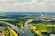 Nederland, Gelderland, Heumen, 26-06-2014; splitsing van de rivier de Maas met rechts het Maas-Waalkanaal, richting Nijmegen. Links Cuijk, het dorpje Heumen in het midden, recht Malden.<br /> Division of the river Meuse with to the right the Maas-Waal canal, direction Nijmegen. <br /> luchtfoto (toeslag op standaard tarieven);<br /> aerial photo (additional fee required);<br /> copyright foto/photo Siebe Swart.