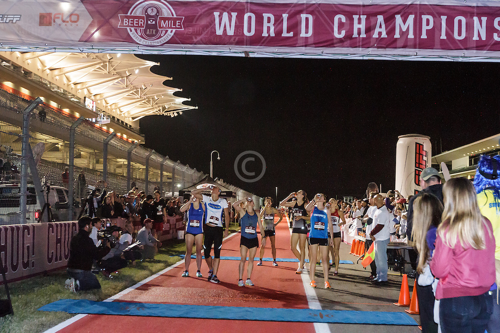 Beer Mile World Championships, Inaugural, Women's Elite race, chugging