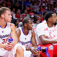 07 October 2014: Los Angeles Clippers forward Blake Griffin (32), Los Angeles Clippers guard Chris Paul (3), and Los Angeles Clippers center DeAndre Jordan (6) are seen on the bench during the Golden State Warriors 112-94 victory over the Los Angeles Clipper, in a preseason game, at the Staples Center, Los Angeles, California, USA.