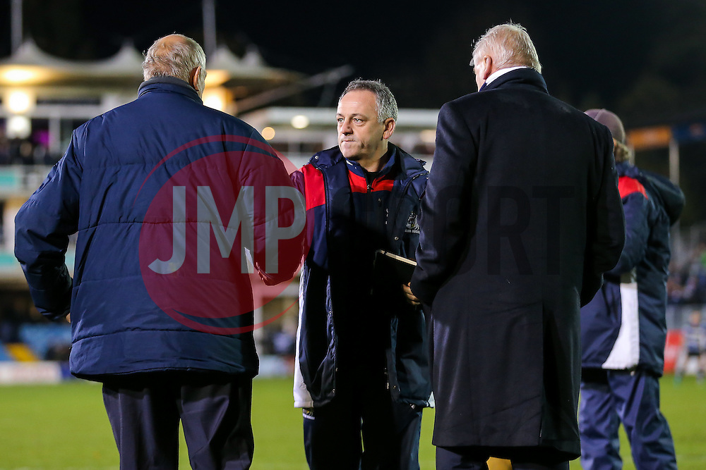 Bristol Rugby Acting Head Coach Mark Tainton speaks to Chairman Chris Booy after Bristol lose the game - Rogan Thomson/JMP - 18/11/2016 - RUGBY UNION - Recreation Ground - Bath, England - Bath Rugby v Bristol Rugby - Aviva Premiership.