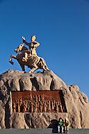 Mongolia. Ulaanbaatar. people on Sukhe bator square, the city center of  Ulaanbaatar, mongolia