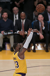 October 25, 2018 - Los Angeles, California, U.S - LeBron James #23 of the Los Angeles Lakers takes a free shot during their NBA game with the Denver Nuggets on Thursday October 25, 2018 at the Staples Center in Los Angeles, California. Lakers defeat Nuggets, 121-114. (Credit Image: © Prensa Internacional via ZUMA Wire)