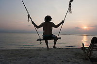 Rear view of young man swinging on beach at sunset