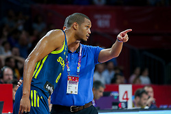 Anthony Randolph of Slovenia and Igor Kokoskov, coach of Slovenia during basketball match between National Teams of Slovenia and Spain at Day 15 in Semifinal of the FIBA EuroBasket 2017 at Sinan Erdem Dome in Istanbul, Turkey on September 14, 2017. Photo by Vid Ponikvar / Sportida