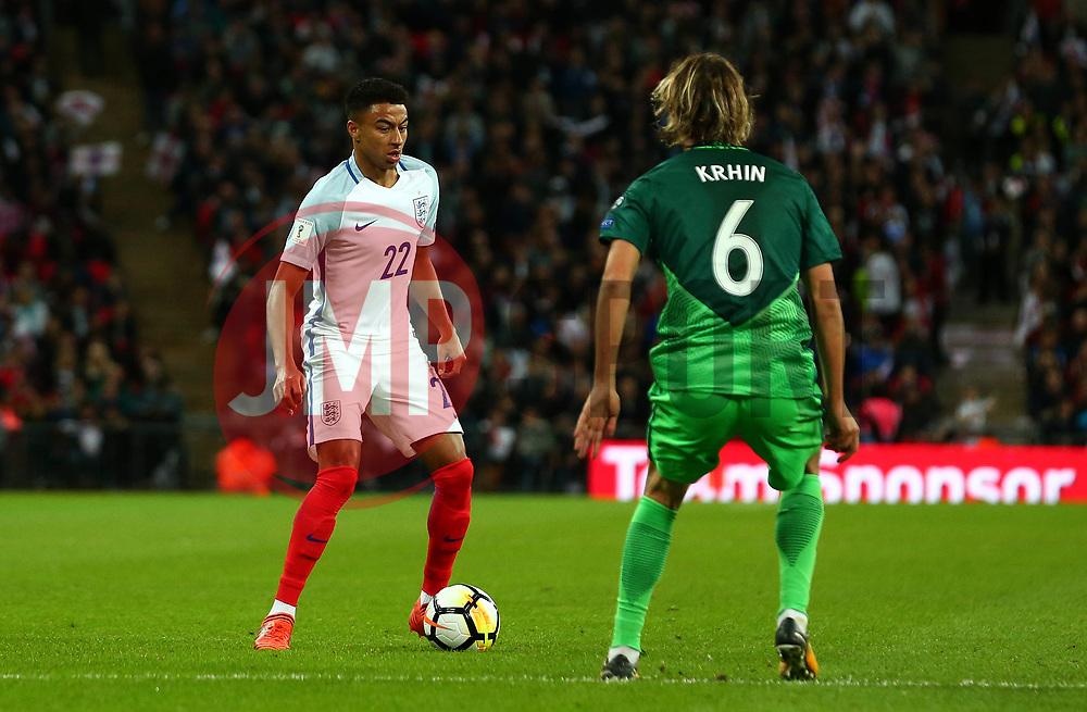 Jesse Lingard of England takes on Rene Krhin of Slovenia - Mandatory by-line: Robbie Stephenson/JMP - 05/10/2017 - FOOTBALL - Wembley Stadium - London, United Kingdom - England v Slovenia - World Cup qualifier