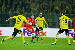 DORTMUND, GERMANY - Thursday, April 7, 2016: Liverpool's Joe Allen in action against Borussia Dortmund during the UEFA Europa League Quarter-Final 1st Leg match at Westfalenstadion. (Pic by David Rawcliffe/Propaganda)