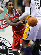 April 01, 2011; Indianapolis, IN, USA; Milwaukee Bucks point guard Brandon Jennings (3) dishes the ball off under the basket against the Indiana Pacers at Conseco Fieldhouse. Mandatory credit: Michael Hickey-US PRESSWIRE