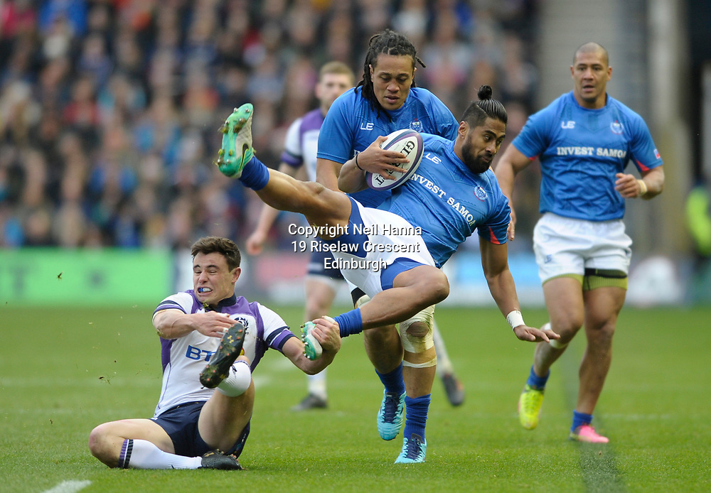 No Sales, Syndication or Archive <br /> Scotland V Samoa<br /> Saturday 11 November 2017<br /> BT Murrayfield <br /> Lee Jones of Scotland and Ah See Tuala of Samoa<br /> <br /> <br />  Neil Hanna Photography<br /> www.neilhannaphotography.co.uk<br /> 07702 246823