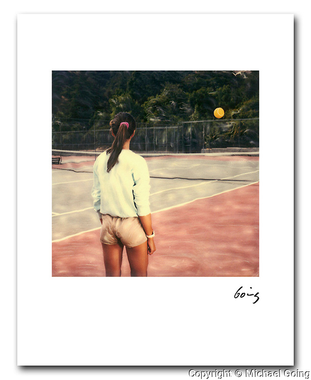 Woman with Floating Tennis Ball 1987. 8x10 archival pigment print free shipping USA. Hand signed printed to order