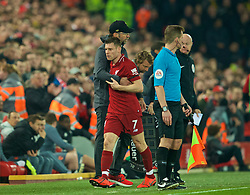 LIVERPOOL, ENGLAND - Wednesday, February 27, 2019: Liverpool's James Milner is embraced by manager Jürgen Klopp as he is substituted during the FA Premier League match between Liverpool FC and Watford FC at Anfield. (Pic by Paul Greenwood/Propaganda)