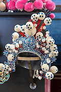 Traditional Chinese Opera headdress Closeup. Photographed in Chengdu, Sichuan, China