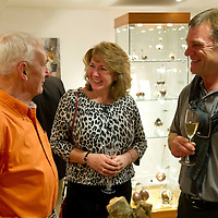 FREE TO USE PHOTOGRAPH....The House of Bruar Helping Scottish Wildlife Trust's Saving Scotland's Red Squirrels Campaign<br /> Pictured from left sculpter Eddie Hallam talks withKaren and Steve Bennett<br /> Picture by Graeme Hart.<br /> Copyright Perthshire Picture Agency<br /> Tel: 01738 623350  Mobile: 07990 594431