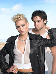 woman with a man in a fashion photo shoot
