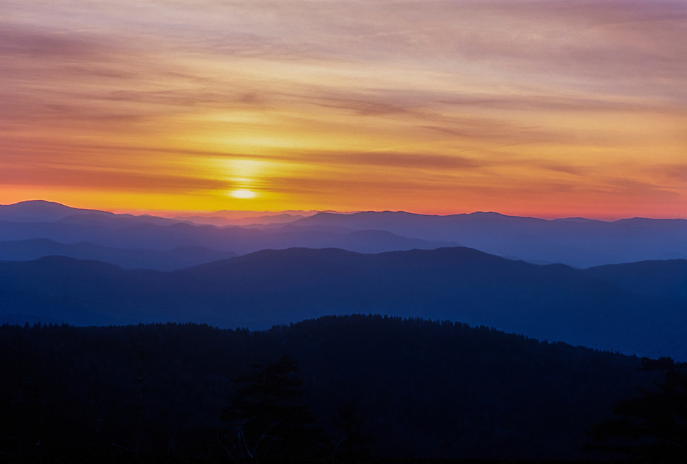 Sunset over the mountain ridges at the Great Smoky Mountains National Park, Tennessee