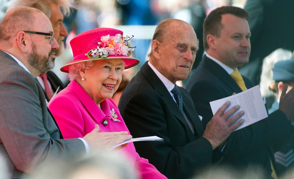 Britain's Queen Elizabeth II (second left) and Prince Philip, Duke of Edinburgh (second right) visit Alexandra Park, Windsor, Britain, 20 April 2016. The Queen opened a new bandstand in the park on the eve of her 90th birthday. EPA/WILL OLIVER
