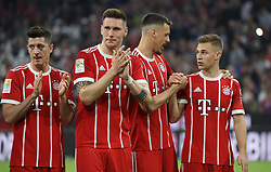14.04.2018, Allianz Arena, Muenchen, GER, 1. FBL, FC Bayern Muenchen vs Borussia Moenchengladbach, 30. Runde, im Bild Jubel nach Spielende - von links: Robert Lewandowski, Niklas S&uuml;le, Sandro Wagner, Joshua Kimmich // during the German Bundesliga 30th round match between FC Bayern Munich and Borussia Moenchengladbach at the Allianz Arena in Muenchen, Germany on 2018/04/14. EXPA Pictures &copy; 2018, PhotoCredit: EXPA/ Sammy Minkoff<br /> <br /> *****ATTENTION - OUT of GER*****