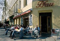 GERMANY BERLIN APR04 - Cafe and patrons in Berlin Kreuzberg, Bergmannstrasse.<br /> <br /> <br /> <br /> jre/Photo by Jiri Rezac <br /> <br /> <br /> <br /> © Jiri Rezac 2004