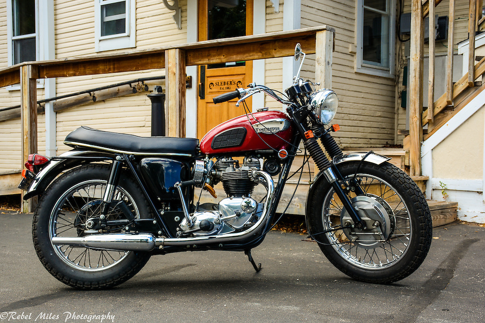 Old School Triumph At Sleders Bar In Traverse City, Michigan