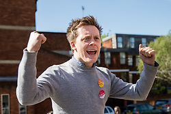 © Licensed to London News Pictures. 03/05/2018. London, UK. Journalist and Labour activist OWEN JONES speaks outside Pimlico Tube Station as part of 'Unseat Westminster Tory Council'. The gathering was arranged to round up volunteers to speak to Westminster residents who said they would vote for labour. Photo credit : Tom Nicholson/LNP